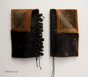 """Kim Bruce - Twin Beds, Encaustic and string on books, Dyptych - 7""""h (18"""" o/a) x 10""""w x 2""""d overall"""